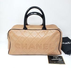 100% Auth CHANEL Beige Handbag